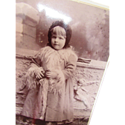 Victorian Era Photograph Cabinet Card of Little Girl in Winter Coat Gearson Des Moines Iowa 1891