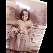 Victorian Era Photograph Cabinet Card of Little Girl in Winter Coat Gearson Des Moines Iowa 1891