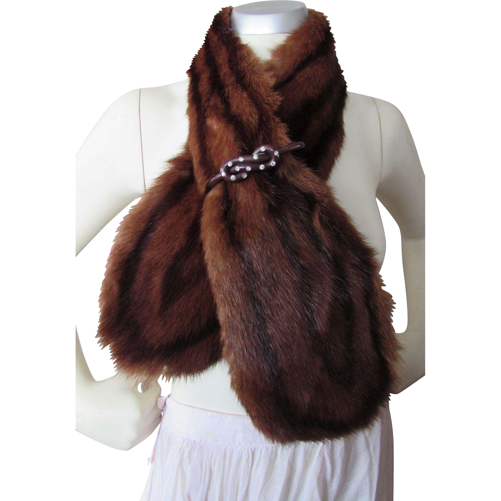 Handsome Mink Stole or Collar with Rhinestone Studded Plastic Barrette