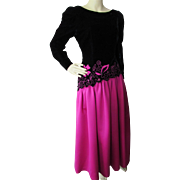 Evening Gown in Black Velvet and Fuchsia Satin Lee Jordan for Neiman Marcus '80's Style