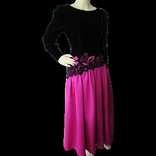 Evening Gown in Black Velvet and Fuchsia Satin Lee Jordan for Neiman Marcus '80's Style