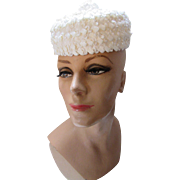 Vintage White Pill Box Hat with Surprise White Poodle Pin Fashioned by Betty Terry