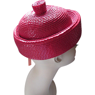 Cutest Little Topper Hat in Cherry Red Woven Straw with Topknot by Betmar