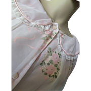 Barsarobe Negligee Robe in Pink Flocked Nylon Mid Century Style