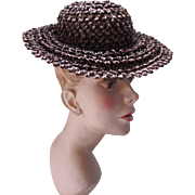 Early Chipped Straw Hat Ladies or Adolescent in Chocolate Brown Small Crown Double Brim