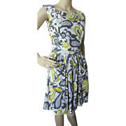 1950 1960 Casual Dress in Lemon Yellow and Gray Paisley by Bill Sims
