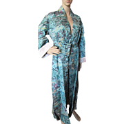 Asian Influence Brocade Coat in Turquoise and Plum