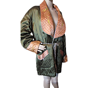 Unisex Asian Style Smoking Jacket in Pine Green and Apricot Quilted Satin Made in Japan Size L