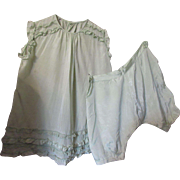 Little Girl 1920 1930 Ruffled Dress and Bloomers in Mint Green