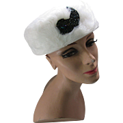 White Long Fur Pill Box Hat Mid Century with Iridescent Bead Decoration