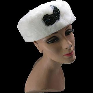 White Long Fur Pill Box Hat Mid Century with Iridescent Bead Decoration