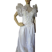 Wedding Gown in High '80's/'90's Style Ruffles and Beads by Eve of Milady Nationwide
