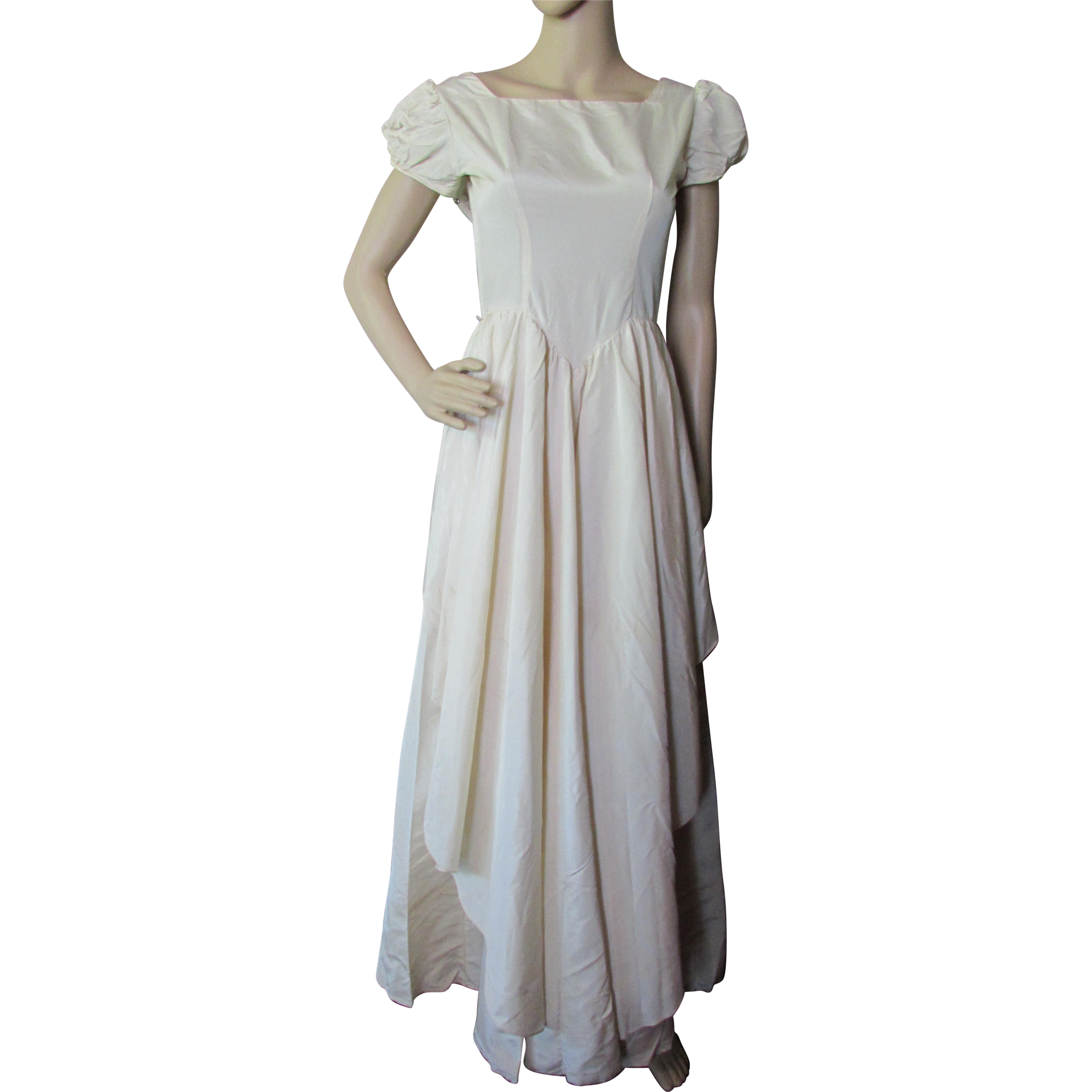Satin Dance Dress or Wedding Dress in Cream Tone 1940 1950 Style