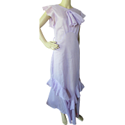 1930 Era Evening Dance Dress in Lovely Lilac Voile Floating Ruffles