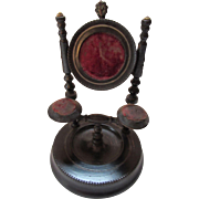 Victorian Era Wood Watch Holder with Red Velvet