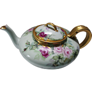 Lovely GDA France Painted Tea Pot in Pink Red Roses with Gilded Accents
