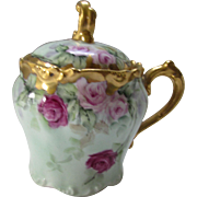 Lovely J P France Jam Pot in Pink Rose Design