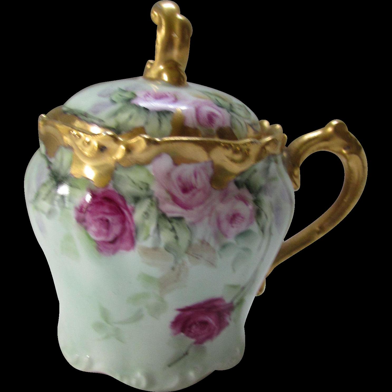 Lovely J P France Jam Pot in Pink Rose Design