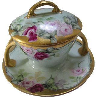 Pink Rose Hand Painted Sauce Cup in Pink Rose Rosenthal Selb Bavaria Botticelli by Blondin