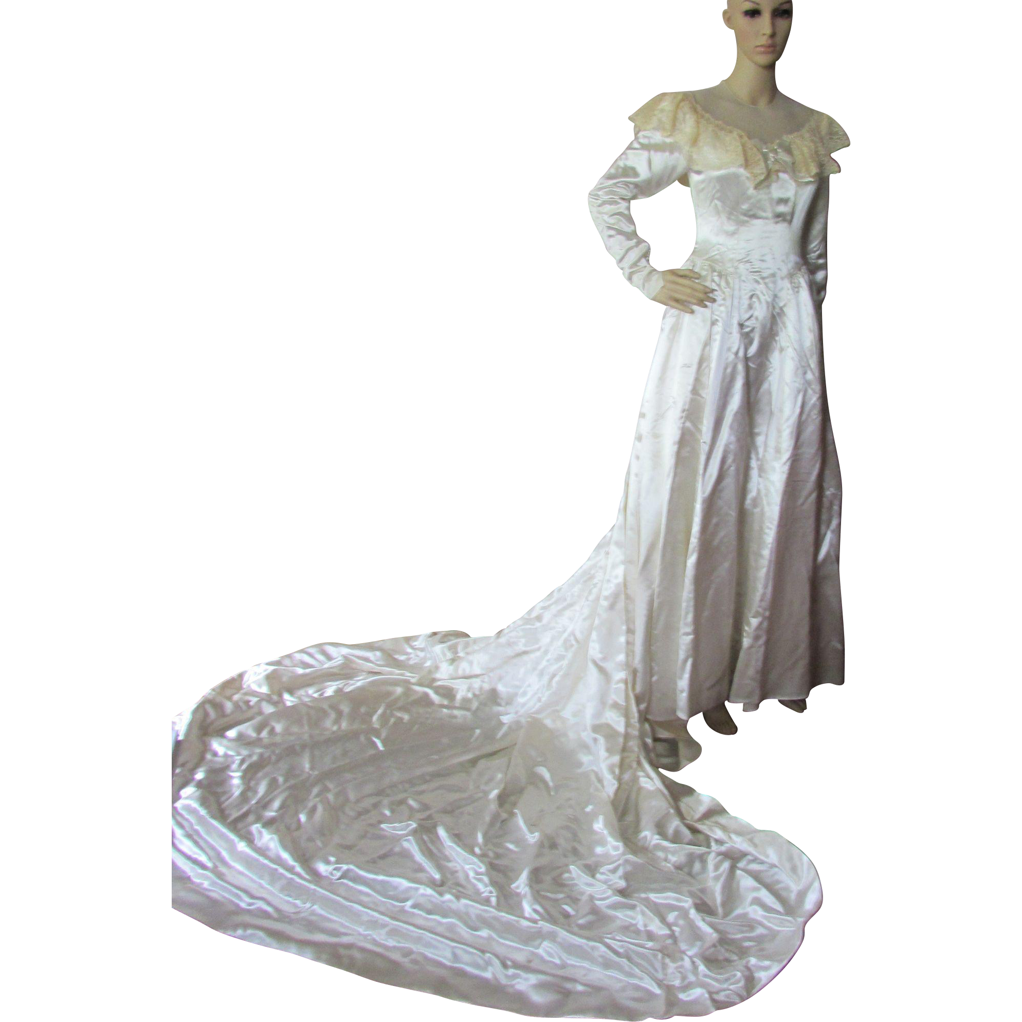 Wedding Gown in Candlelight Satin with Cathedral Train and Corset Buttons 1940/1950