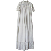 Beautiful Victorian Edwardian Christening Gown in White with White on White Embroidery and Pin Tucking