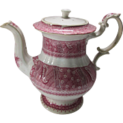 Cottage Style Ironstone Transferware Coffee Pot in Pink Red Calico Design