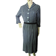 Professional Mid-Century Office Dress in Charcoal Gray Stripe