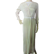 Edwardian Summer Dress in Oyster Tone Voile Pleats and Lace