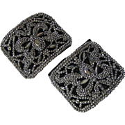 Victorian Edwardian Steel Cut Shoe Buckles Made in France