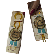 Pair Boxes Celluloid Hair Pins in Apple Juice Tone Prize Winner New Old Stock