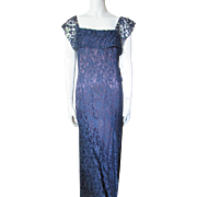 Sophisticated Evening Gown in Midnight Blue Lace with Plum Satin Liner Flutter Sleeves