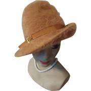 Slouch Hat in Pumpkin Long Fur and Gold Tone Buckle by Kangol Made in England
