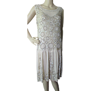 Deco Era Beaded Dress in Chiffon and Sequins Champagne Tone Flapper Dress