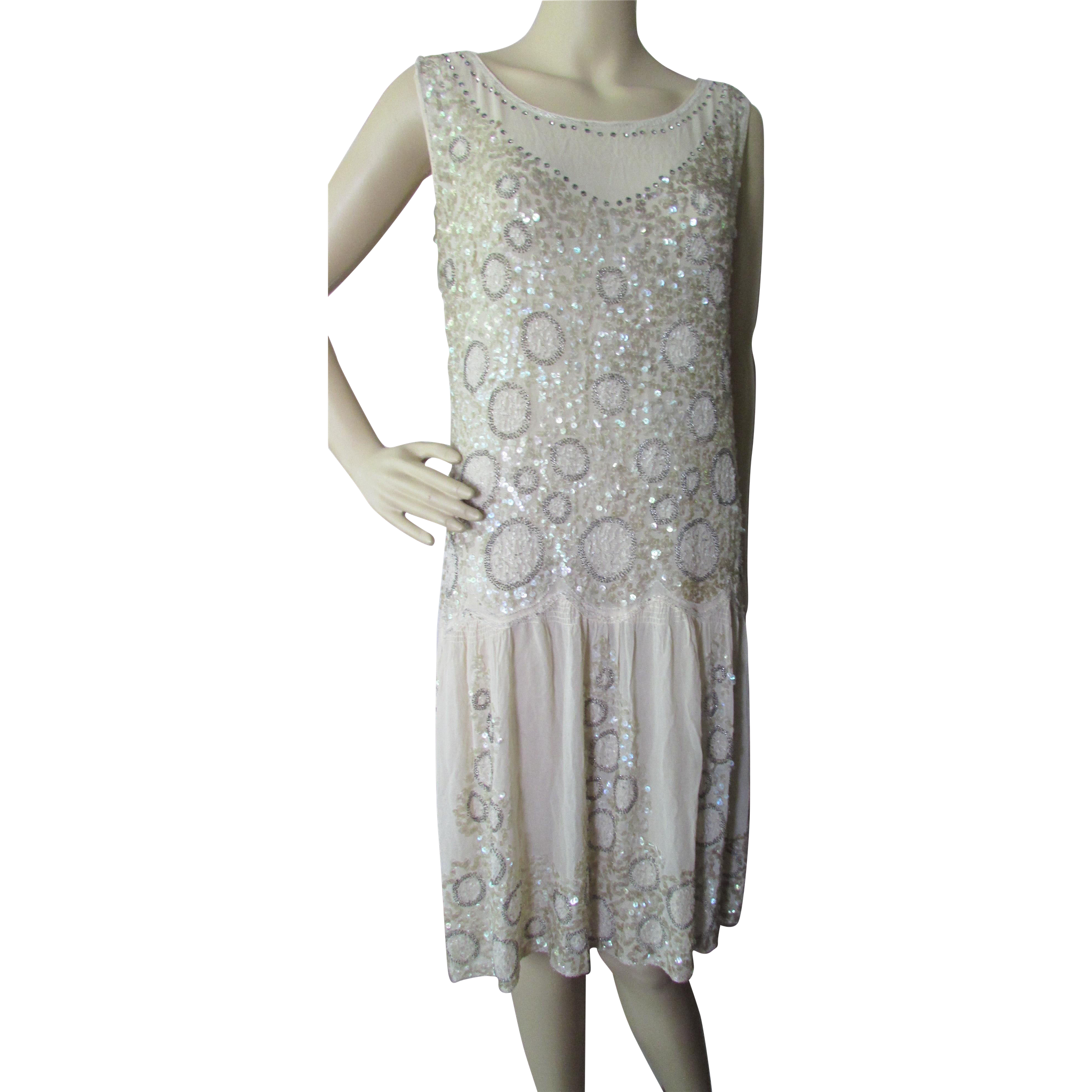 Deco Era Beaded Dress in Chiffon and Sequins Champagne Tone Flapper Dress For Display