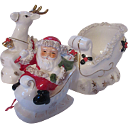 Trio Ceramic Christmas Figurines with Spaghetti Accents Santa Sleigh Reindeer