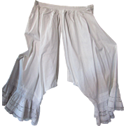Victorian Edwardian Open Crotch Bloomers in White with Pintucks and Lace Flounces