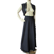 Gaucho Style Skirt and Bolero in Black Polyester with Shiny Pailettes