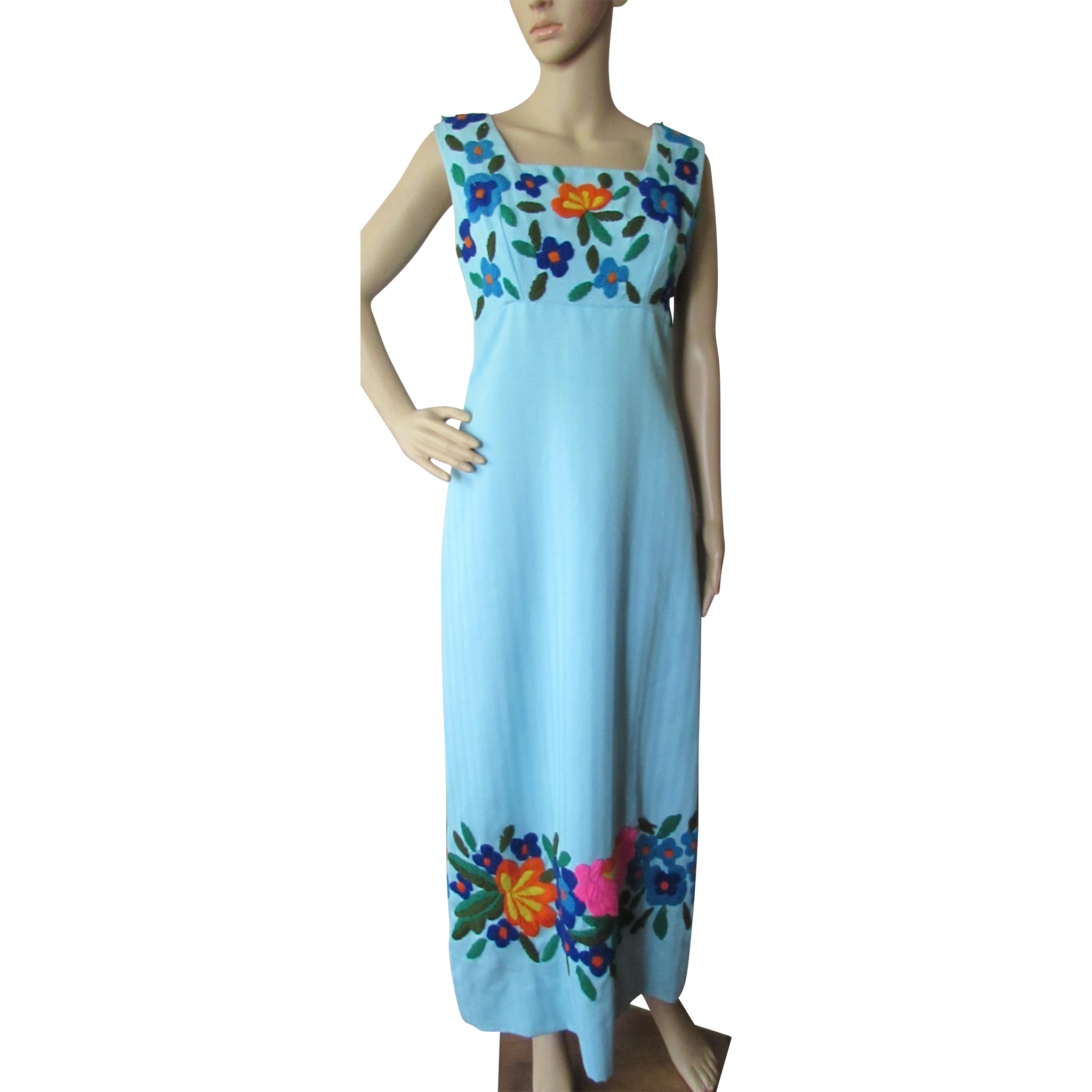 Boho Style Long Dress in Sky Blue with Yarn Embroidery Flowers Thelma Beach Ware Acapulco Mexico