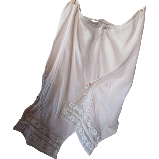 Vintage Lingerie Bloomers in Nude with Cream Tone Lace Inserts Size Large