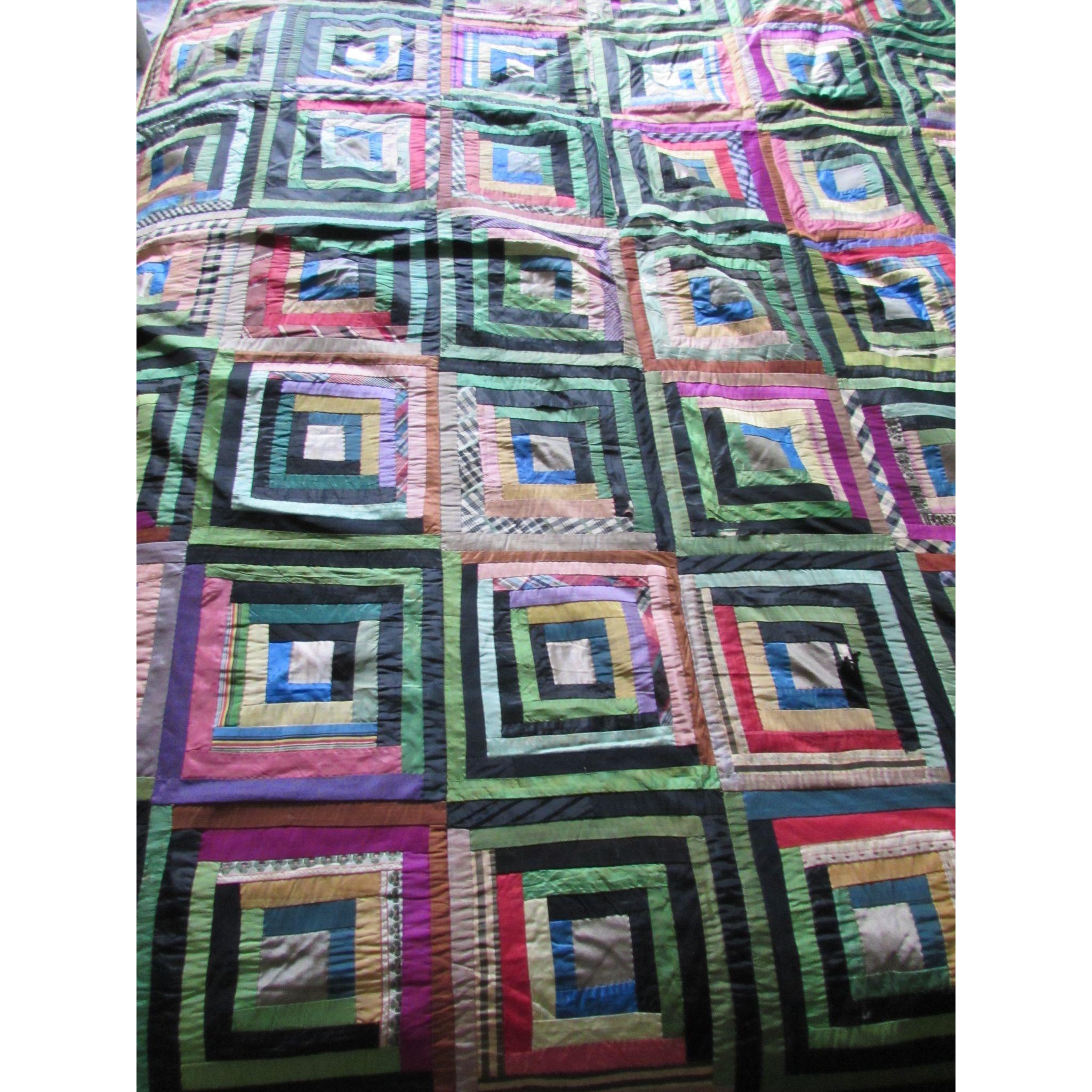 Antique Silk Crazy Quilt in Log Cabin Design Green Black Dominant