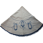 Embroidered Table Round with Blue French Knot Swags and Ribbons