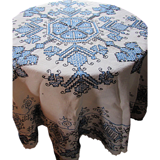 Cottage Style Embroidered Table Cloth in Blue and Black Scandinavian Design