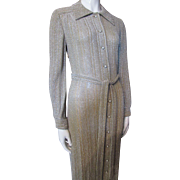 Long Evening Gown in Silver and Gold Metallic by Ruth Norman for Gay Gibson 1970 Style Size Small