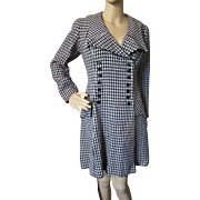 Black and White Houndstooth Mini Coat Dress or Coat 1960 Style