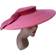 Vintage Wide Brim Picture Hat Mid Century in Coral Pink Mandel Brothers Chicago