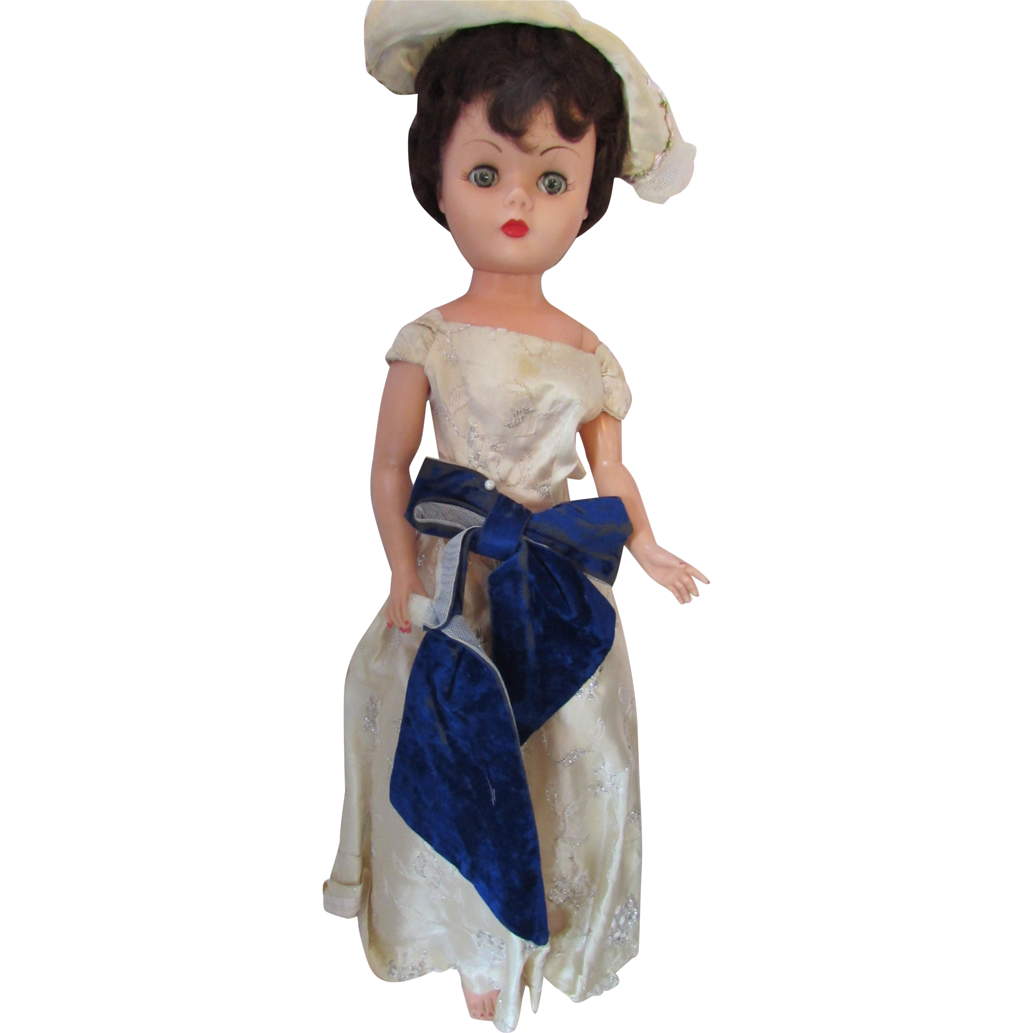 """Arrow Plastic Doll 1950 Era Brunette Hair 25"""" Sleep Eyes Movable Arms, Legs, Head"""