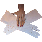 Classic Length White Womens Gloves Accents of Net and Faux Pearl