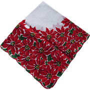 Holiday Christmas Handkerchief in Red Poinsettia Design
