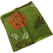 Vintage Handkerchief in Burnt Orange and Olive by Mary Lewis