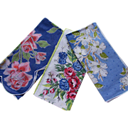 Trio Vintage Handkerchiefs in Theme of Blue and Flowers